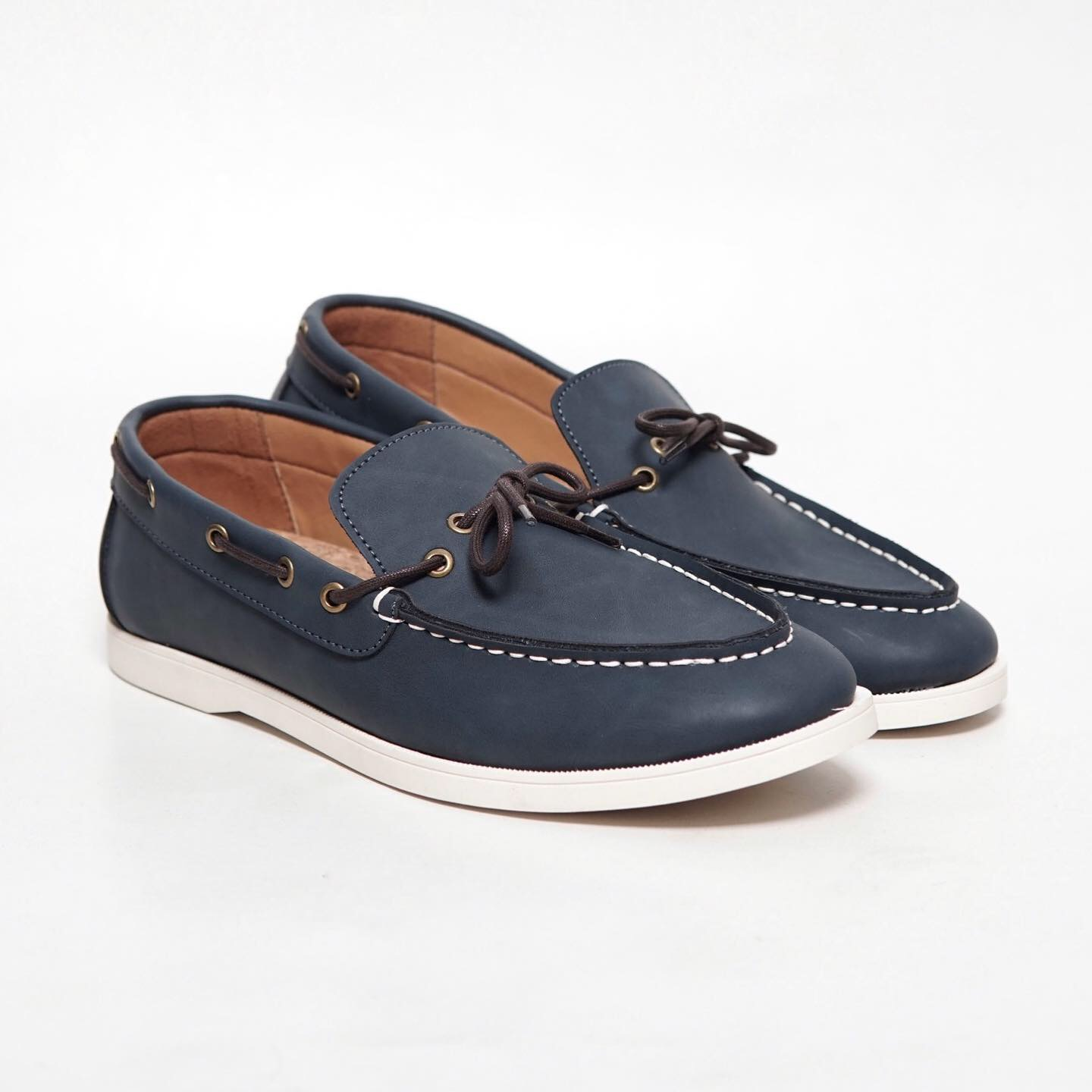Piana Navy Boat Loafers Shoes | HIGHTY